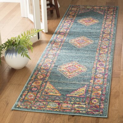 Carrillo Blue Area Rug Rug Size: Runner 23 x 8