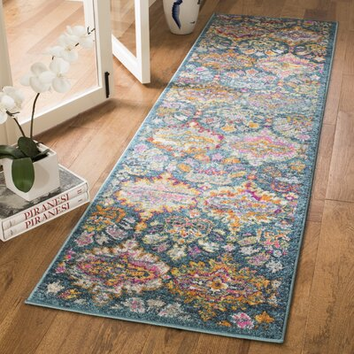 Carrillo Blue/Orange Area Rug Rug Size: Runner 23 x 8