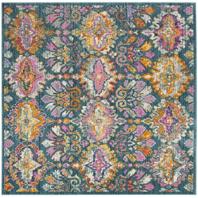 Grieve Blue/Orange Area Rug Rug Size: Square 67