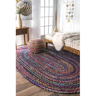 Josephine Hand-Braided Blue/Purple Area Rug Rug Size: Oval 4 x 6