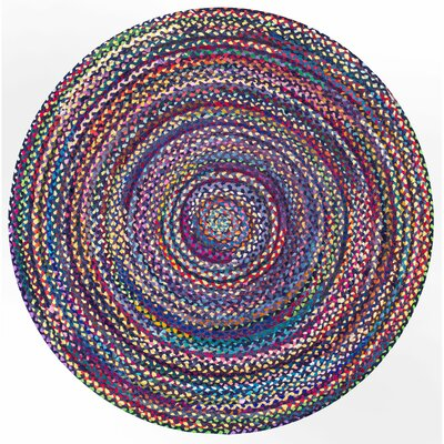 Josephine Hand-Braided Blue/Purple Area Rug Rug Size: Round 6