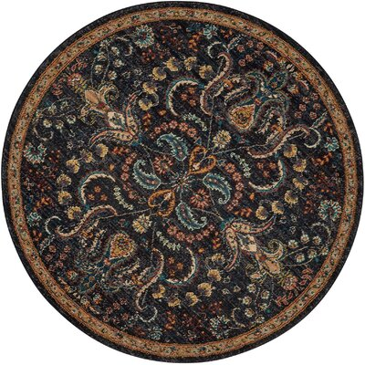 Sahana Black/Brown Area Rug Rug Size: Round 5