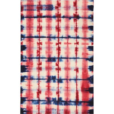 One-of-a-Kind Emmitt Hand-Woven Red/Blue Indoor  Area Rug