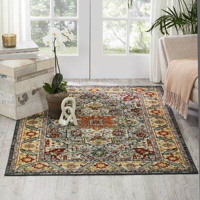 Darien Gray/Yellow/Orange Area Rug Rug Size: Rectangle 3'11