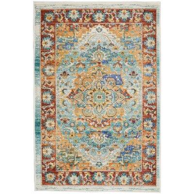 Devan Brown/Blue Indoor Area Rug Rug Size: Rectangle 2 x 3
