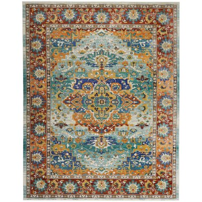 Devan Brown/Blue Indoor Area Rug Rug Size: Rectangle 710 x 106