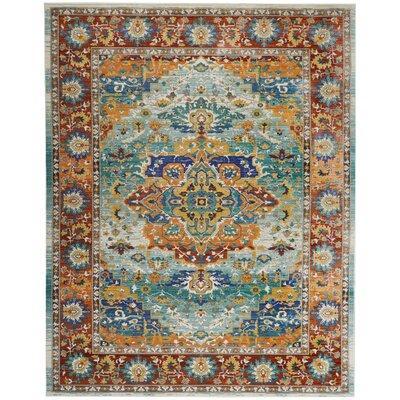 Devan Brown/Blue Indoor Area Rug Rug Size: Rectangle 710 x 106