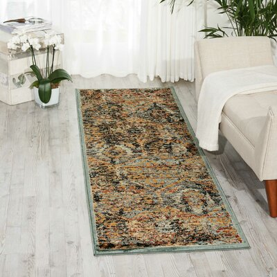 Anders Blue/Orange Area Rug Rug Size: Runner 22 x 76