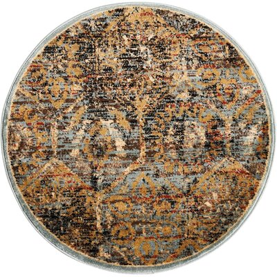 Anders Blue/Orange Area Rug Rug Size: Round 3'4