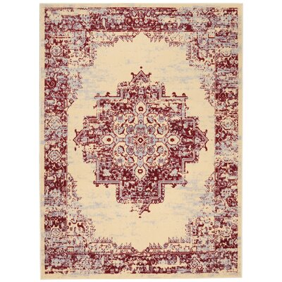 Susan Cream/Red Indoor Area Rug Rug Size: Rectangle 710 x 910