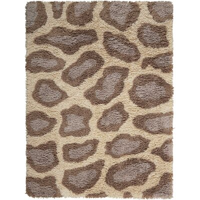Ramona Hand-Tufted Ivory/Brown Area Rug Rug Size: Rectangle 76 x 96