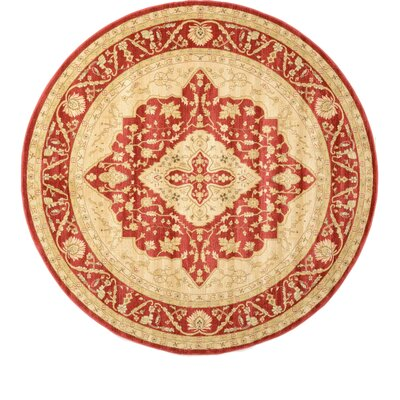 Willow Red Area Rug Rug Size: Round 8'