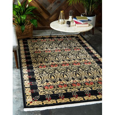 Fonciere Black Area Rug Rug Size: Rectangle 7 x 10