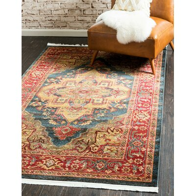 Valley Navy Blue Area Rug Rug Size: Round 6