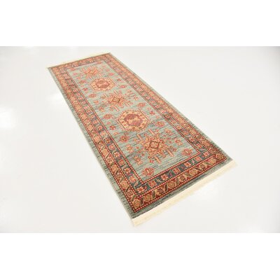 Valley Red/Light Blue Area Rug Rug Size: Runner 27 x 10