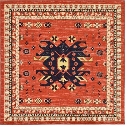 Zoey Red Area Rug Rug Size: Square 8