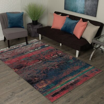 Vermont Eroded Pink/Green/Black Area Rug Rug Size: Rectangle 76 x 10