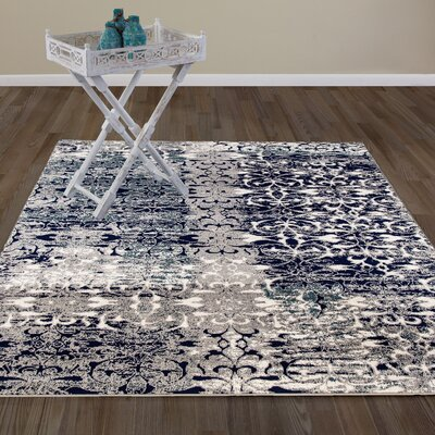 Chane Flowers Navy/Gray Area Rug Rug Size: 53 x 73