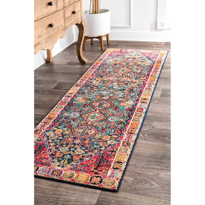 Azemmour Blue/Red Area Rug Rug Size: Runner 26 x 8