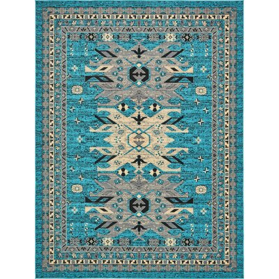 Sina Turquoise Area Rug Rug Size: Rectangle 9 x 12