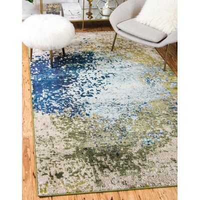 Hayes Blue/Green Area Rug Rug Size: Rectangle 7 x 10