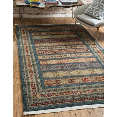 One-of-a-Kind Foret Noire Machine Woven Polypropylene Blue Area Rug Rug Size: Rectangle 5 x 8
