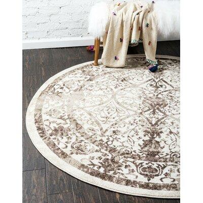 Shailene Beige/Brown Area Rug Rug Size: Round 8