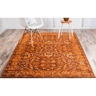 Bolton Orange/Brown Area Rug Rug Size: Rectangle 7 x 10