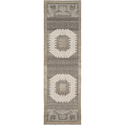 Gretta Hand-Tufted Wool Ivory/Brown Area Rug Rug Size: Runner 23 x 8
