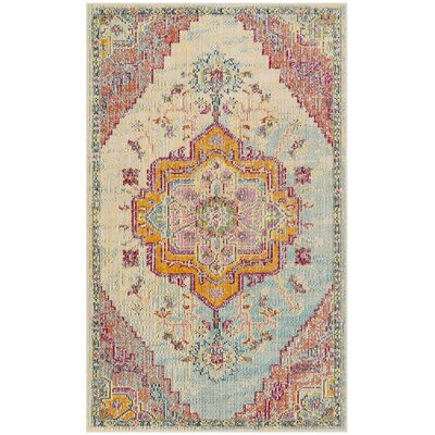 Floressa Light Blue/Fuchsia Area Rug Rug Size: Runner 22 x 9