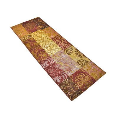 Victoria Yellow/Brown Indoor/Outdoor Area Rug Rug Size: Runner 2 x 6