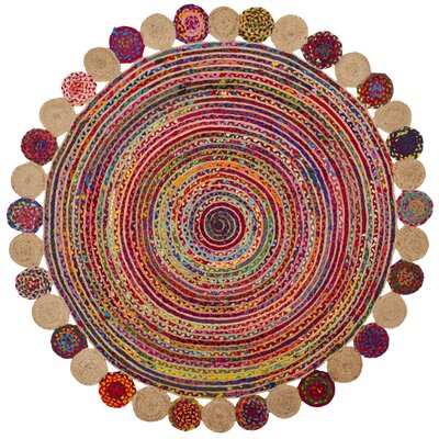 Bowen Hand-Woven Red/Beige Area Rug Rug Size: Round 8