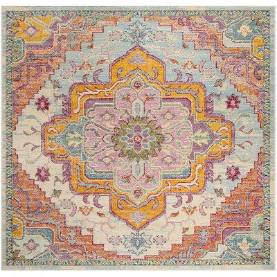 Floressa Light Blue/Fuchsia Area Rug Rug Size: Square 7