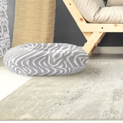 Nerbone Round Floor Pillow Size: 26 H x 26 W x 12.5 D, Color: Grey/ Ivory