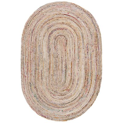 Bowen Hand-Woven Beige/Yellow Area Rug Rug Size: Oval 5 x 8