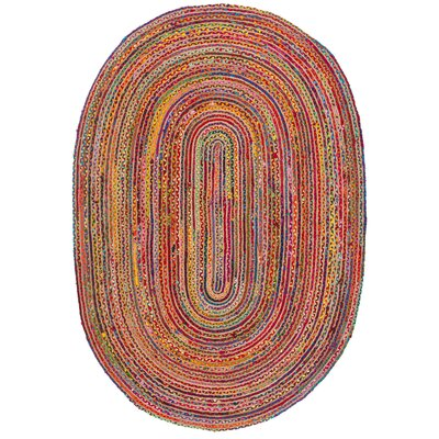 Bowen Hand-Woven Red/Multi Area Rug Rug Size: Oval 5 x 8