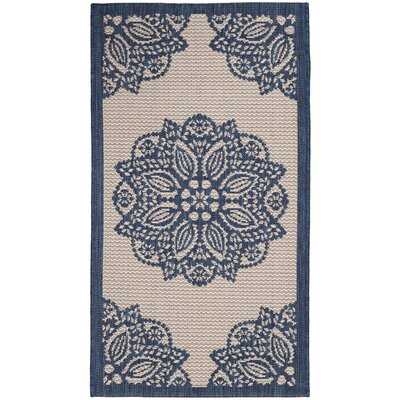 Catori Beige/Navy Indoor/Outdoor Area Rug Rug Size: Rectangle 2 x 37