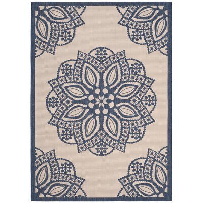 Catori Beige/Navy Indoor/Outdoor Area Rug Rug Size: Rectangle 4 x 57