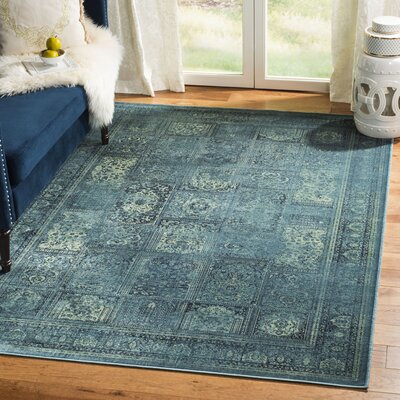 Todd Vintage Turquoise Area Rug Rug Size: Rectangle 53 x 76