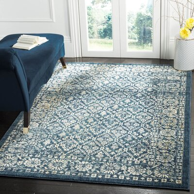 Schneider Navy/Gold Area Rug Rug Size: Rectangle 51 x 76