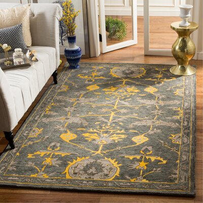 Netea Hand-Tufted Blue Grey/Gold Area Rug Rug Size: Rectangle 5 x 8