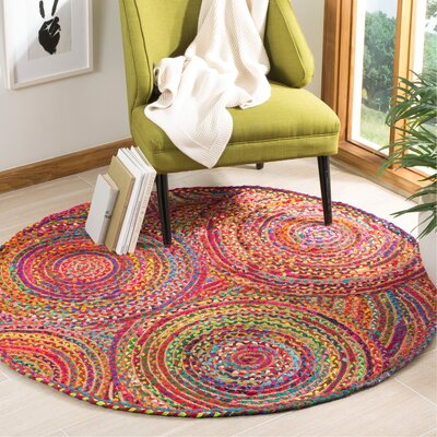 Bowen Hand-Woven Red/Yellow/Puple Area Rug Rug Size: Round 3