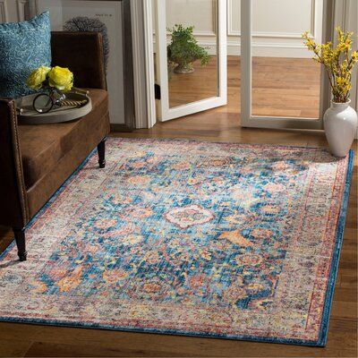 Amiens Blue Area Rug Rug Size: Rectangle 51 x 76