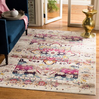 Wayne Cream/Fuchsia Area Rug Rug Size: Rectangle 51 x 76