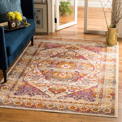 Wayne Ivory/Fuchsia Area Rug Rug Size: Rectangle 51 x 76
