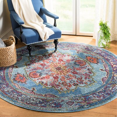 Skye Blue/Purple Area Rug Rug Size: Round 7