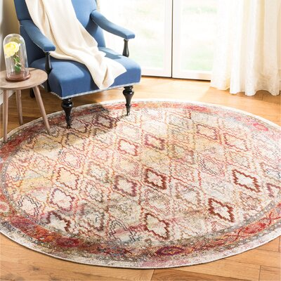 Orkney Cream/Rose Area Rug Rug Size: Round 7
