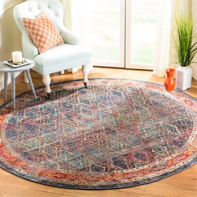 Orkney Navy/Gold Area Rug Rug Size: Round 7
