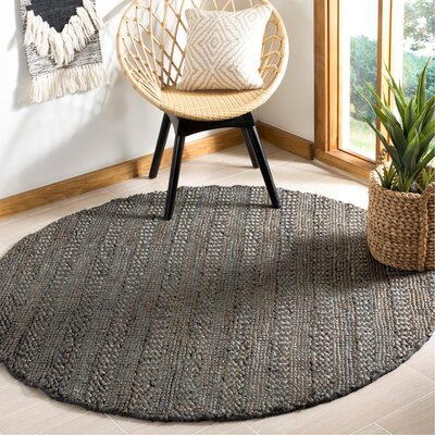 Jean Natural Fiber Hand-Woven Charcoal Area Rug Rug Size: Round 6