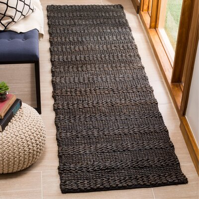Jean Natural Fiber Hand-Woven Charcoal Area Rug Rug Size: Runner 23 x 8